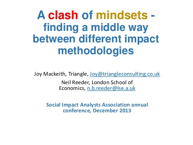 A clash of mindsets finding a middle way between different impact methodologies Joy Mackeith, Triangle, Joy@triangleconsul...