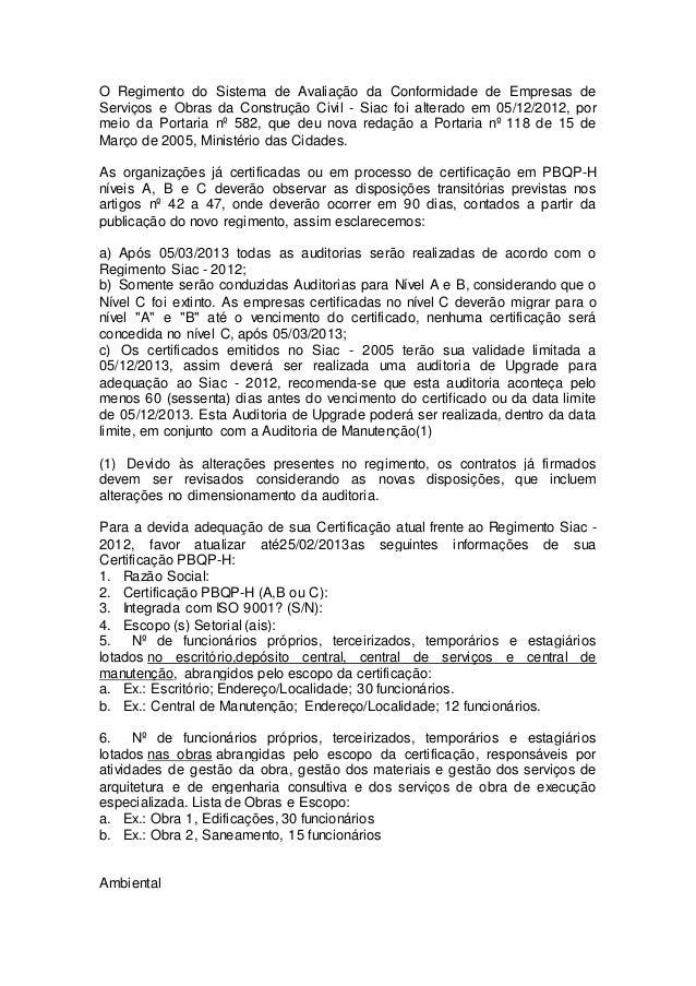 O Regimento do Sistema de Avaliação da Conformidade de Empresas de  Serviços e Obras da Construção Civil - Siac foi altera...