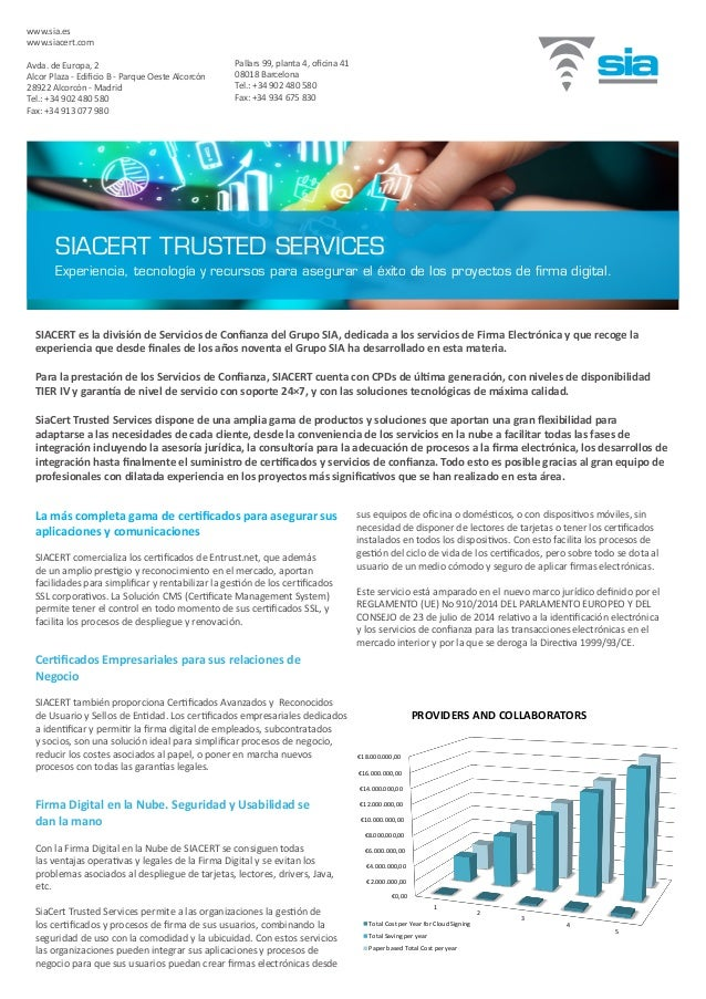 SIACERT es la división de Servicios de Confianza del Grupo SIA, dedicada a los servicios de Firma Electrónica y que recoge...
