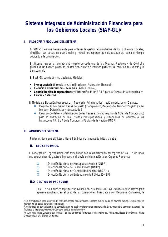 Sistema Integrado de Administración Financiera para           los Gobiernos Locales (SIAF-GL)1I.   FILOSOFIA Y MODULOS DEL...