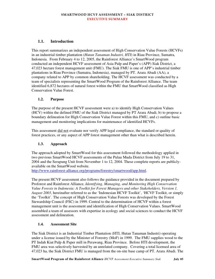 SMARTWOOD HCVF ASSESSMENT – SIAK DISTRICT                           EXECUTIVE SUMMARY    1.1.    IntroductionThis report s...