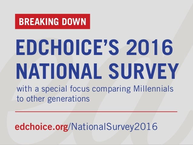 BREAKING DOWN EDCHOICE'S 2016 NATIONAL SURVEY with a special focus comparing Millennials to other generations edchoice.org...