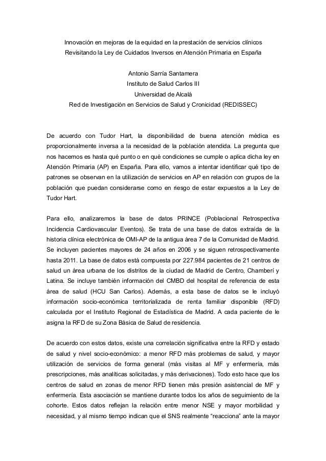 Innovación en mejoras de la equidad en la prestación de servicios clínicos Revisitando la Ley de Cuidados Inversos en Aten...
