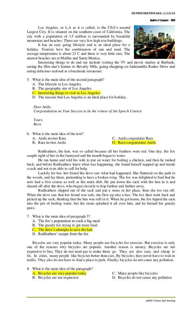 Siap UN bahasa ingrris smp 2014 smtr 2 with keys, revised