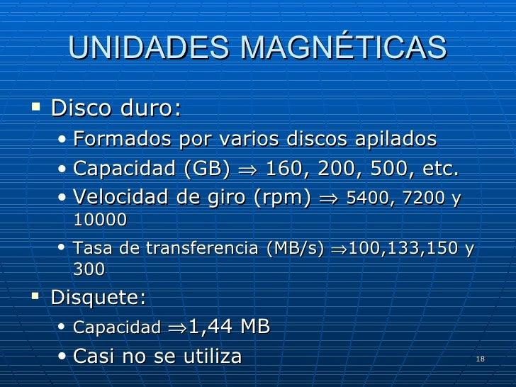 UNIDADES MAGNÉTICAS <ul><li>Disco duro: </li></ul><ul><ul><li>Formados por varios discos apilados </li></ul></ul><ul><ul><...