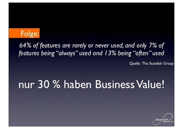"""Folge:64% of features are rarely or never used, and only 7% offeatures being """"always"""" used and 13% being """"often"""" used     ..."""