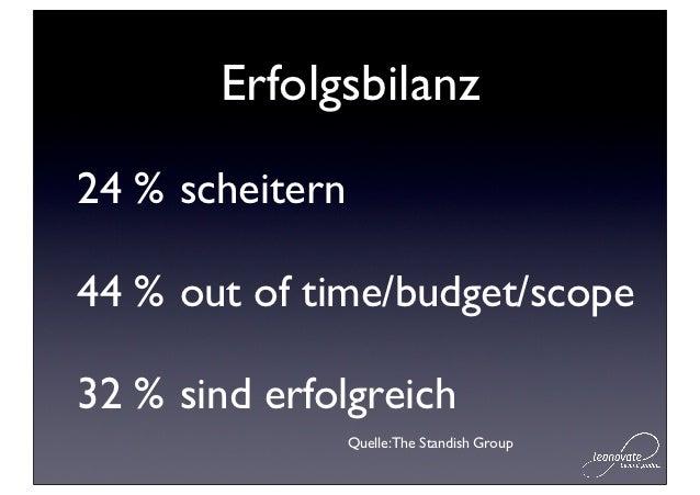 Erfolgsbilanz24 % scheitern44 % out of time/budget/scope32 % sind erfolgreich                 Quelle: The Standish Group