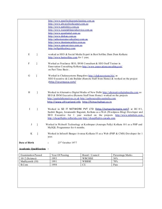sibesh resume for seo job hundred percent white