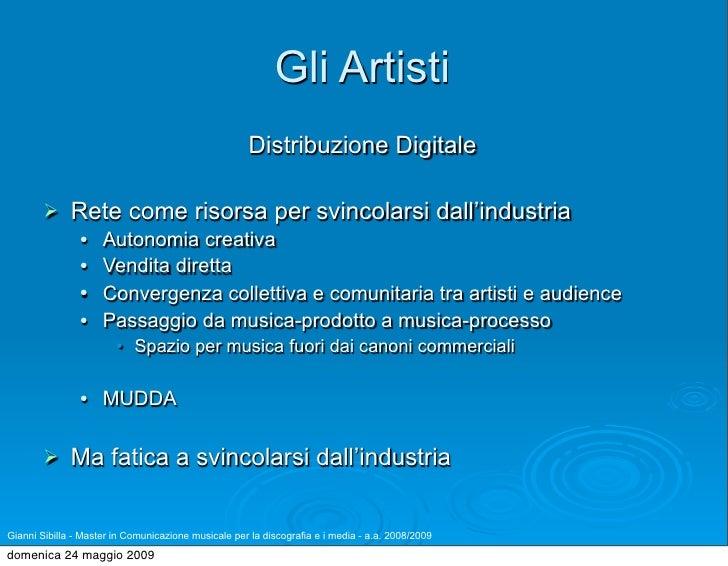 Gli Artisti                                                      Distribuzione Digitale               Rete come risorsa p...