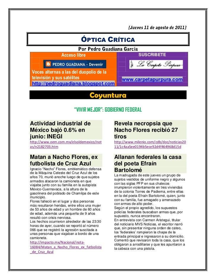 ÓPTICA CRÍTICA                   Acceso libre                                SUSCRIBETE Voces alternas a las del duopolio ...