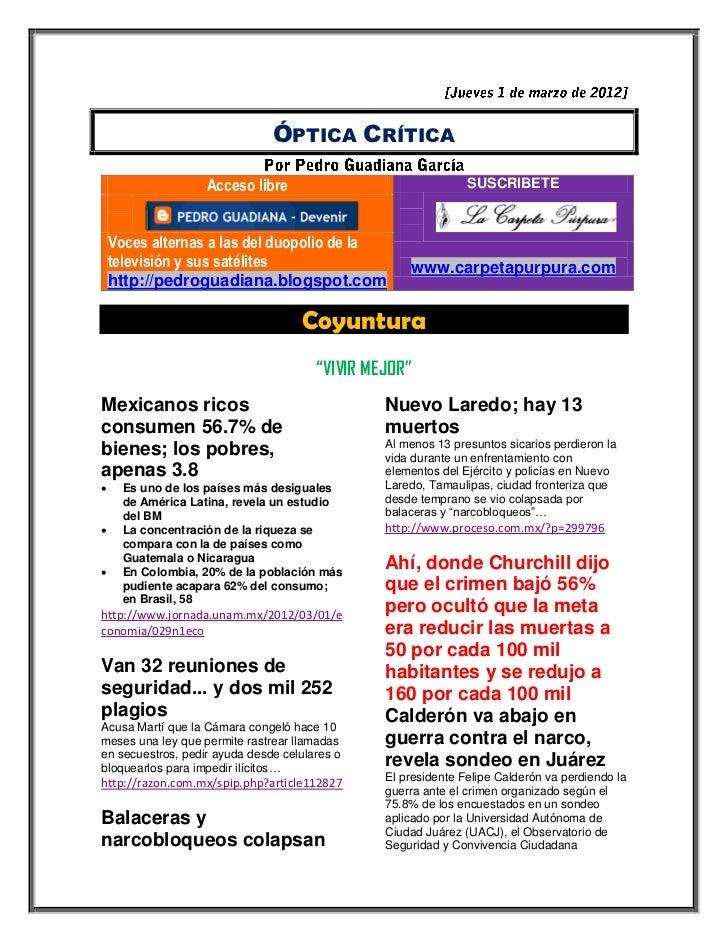 ÓPTICA CRÍTICA                   Acceso libre                                SUSCRIBETE    Voces alternas a las del duopol...