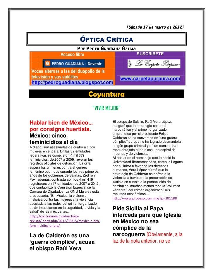 ÓPTICA CRÍTICA                    Acceso libre                                SUSCRIBETE Voces alternas a las del duopolio...