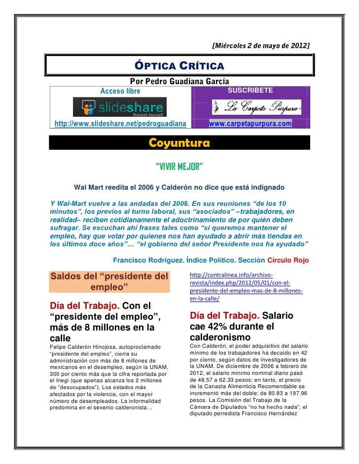 ÓPTICA CRÍTICA                   Acceso libre                                SUSCRIBETE http://www.slideshare.net/pedrogua...