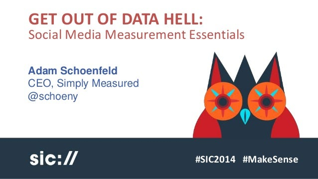 GET OUT OF DATA HELL:  Social Media Measurement Essentials  #SIC2014 #MakeSense  Adam Schoenfeld  CEO, Simply Measured  @s...