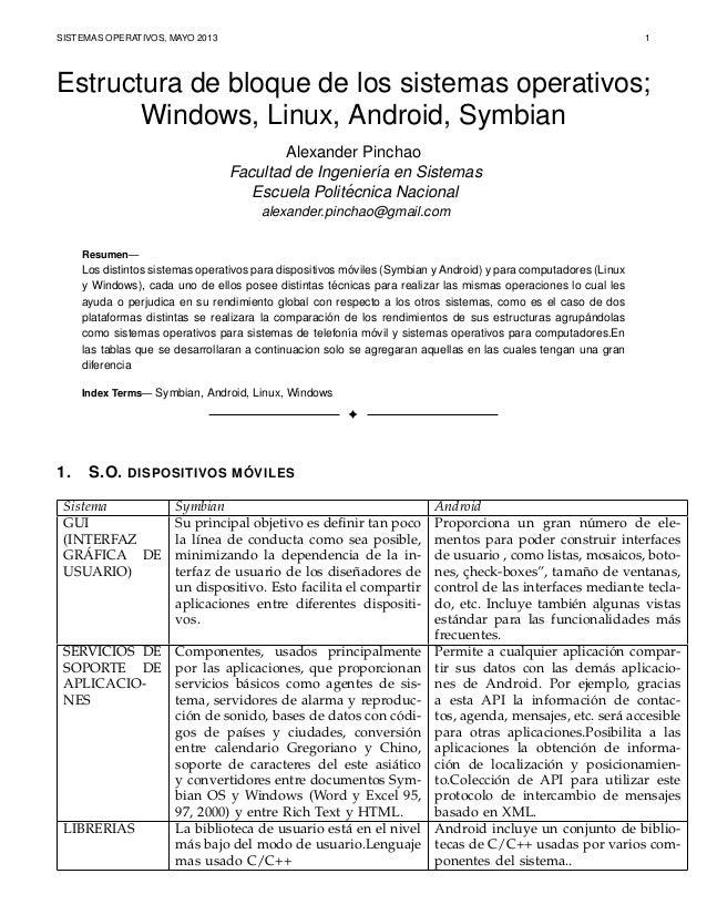SISTEMAS OPERATIVOS, MAYO 2013 1Estructura de bloque de los sistemas operativos;Windows, Linux, Android, SymbianAlexander ...