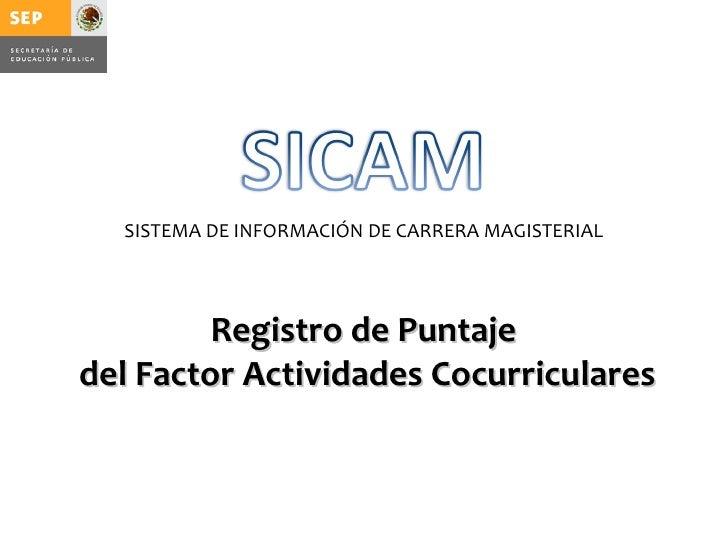 SISTEMA DE INFORMACIÓN DE CARRERA MAGISTERIAL         Registro de Puntajedel Factor Actividades Cocurriculares