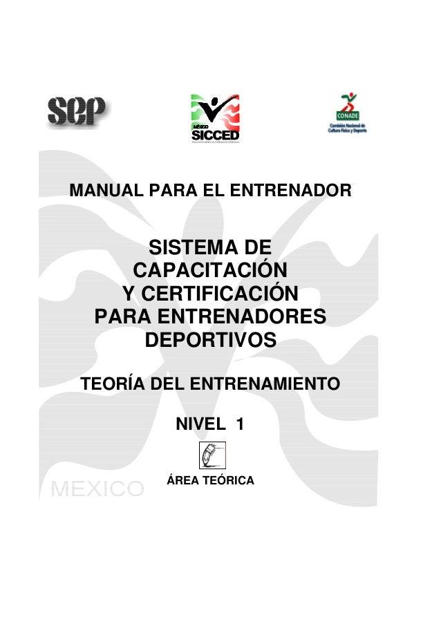 SICCED, Teoría del Entrenamiento Deportivo, Nivel 1