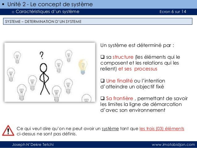  Unité 2 - Le concept de système o Caractéristiques d'un système  Ecran 6 sur 14  SYSTEME – DETERMINATION D'UN SYSTEME  U...