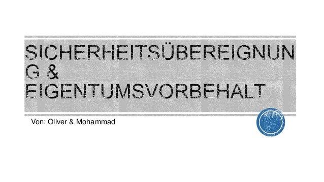 Von: Oliver & Mohammad