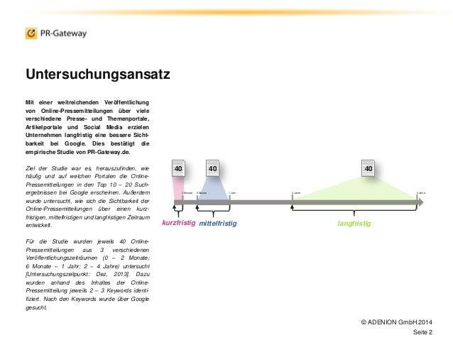 Sichtbar im Internet mit Online-Pressemitteilungen: Sichtbarkeitsstudie2014 Slide 2