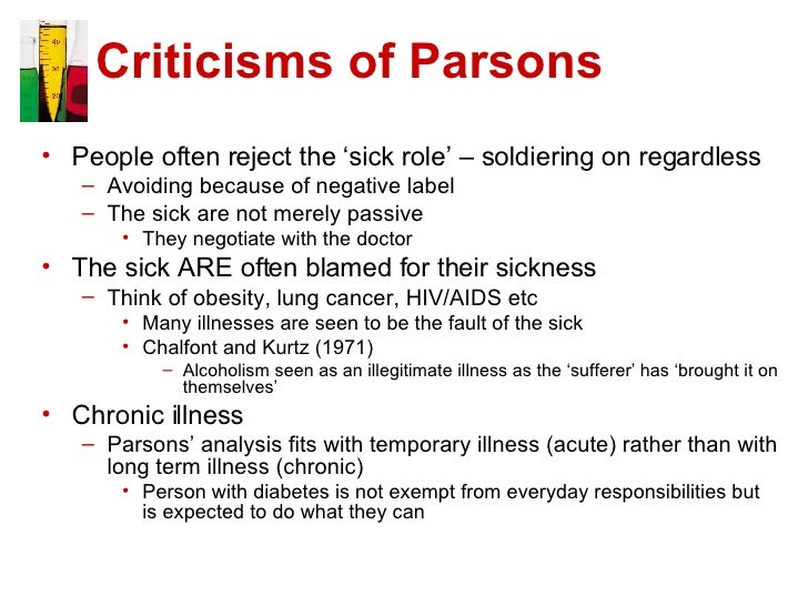 sick role theory essay Free essays on talcott parsons the sick role get help with your writing 1 through 30.