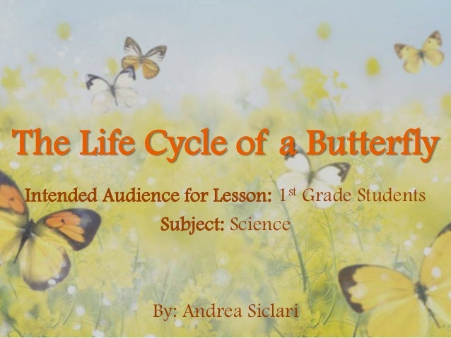 The Life Cycle of a Butterfly Intended Audience for Lesson: 1st Grade Students Subject: Science  By: Andrea Siclari