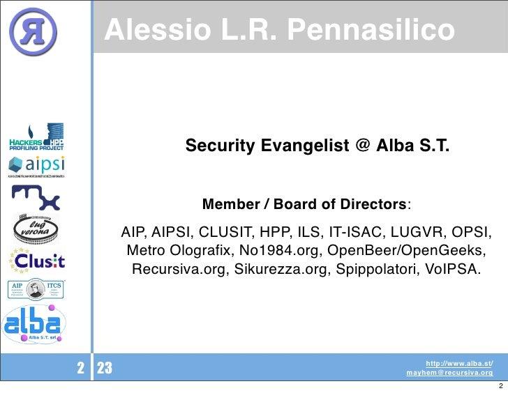 Sicurezza Informatica: Strumenti o Persone? Slide 2