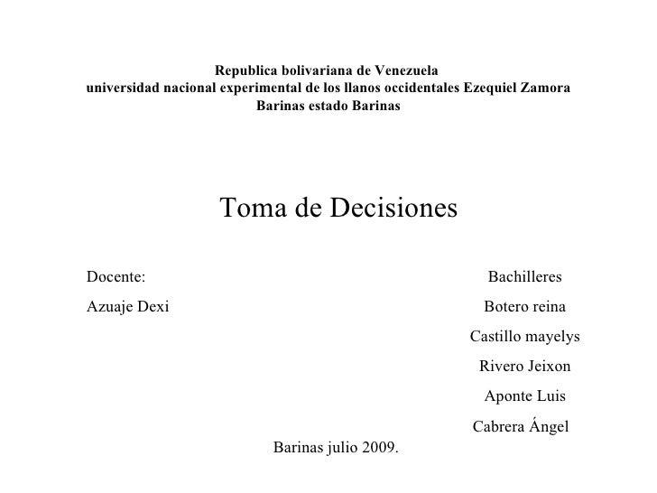 Republica bolivariana de Venezuela universidad nacional experimental de los llanos occidentales Ezequiel Zamora           ...