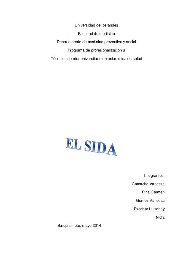 Universidad de los andes Facultad de medicina Departamento de medicina preventiva y social Programa de profesionalización ...