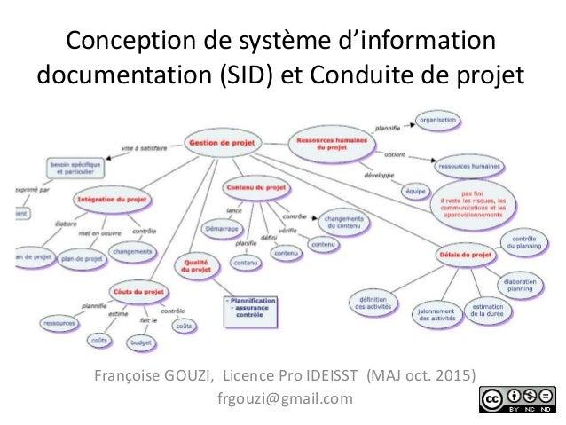 Conception de système d'information documentation (SID) et Conduite de projet Françoise GOUZI, Licence Pro IDEISST (MAJ oc...