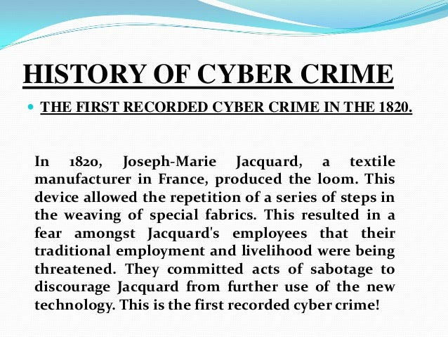an introduction to the history of internet crime 2004-5-11  brief review of computer crime in the usa  introduction there are no precise  this 1983 incident was cited by the us congress in the legislative history.