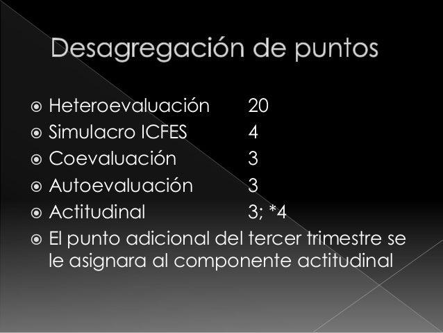 1. Evaluaciones, con la aplicación de  múltiples instrumentos  2. Tareas  3. Trabajo en clase   La desagregación de los 2...