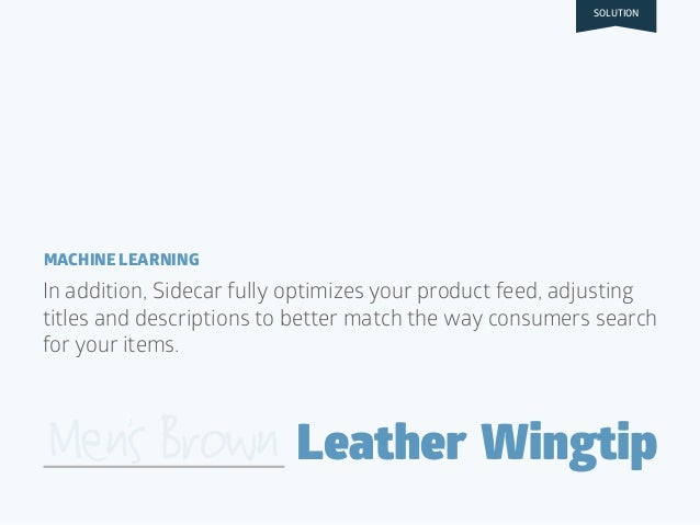 MACHINE LEARNING Leather WingtipMensBrown In addition, Sidecar fully optimizes your product feed, adjusting titles and des...