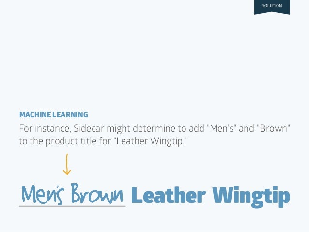 """BID $1.50 Leather WingtipMensBrown For instance, Sidecar might determine to add """"Men's"""" and """"Brown"""" to the product title f..."""