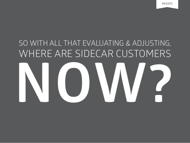 SO WITH ALL THAT EVALUATING & ADJUSTING, WHERE ARE SIDECAR CUSTOMERS RESULTS