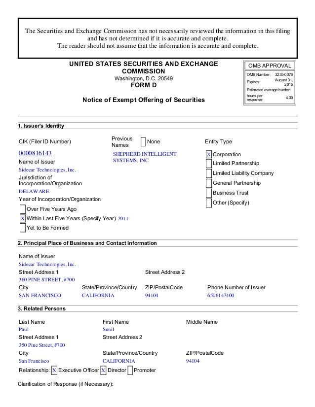 The Securities and Exchange Commission has not necessarily reviewed the information in this filing  and has not determined...