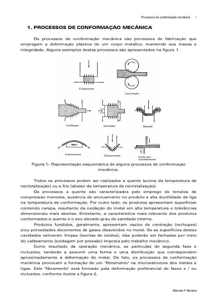 Processos de conformação mecânica    1   1. PROCESSOS DE CONFORMAÇÃO MECÂNICA       Os processos de conformação mecânica s...