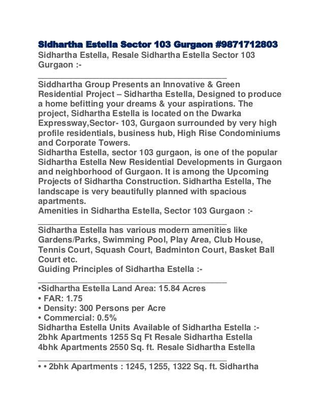 Sidhartha Estella Sector 103 Gurgaon #9871712803Sidhartha Estella, Resale Sidhartha Estella Sector 103Gurgaon :-__________...