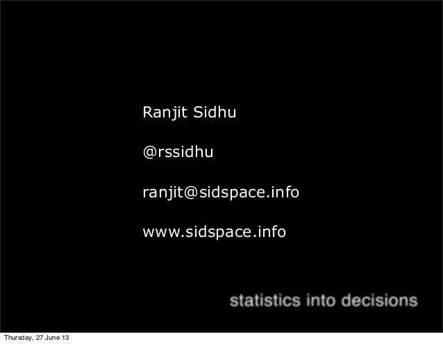 Ranjit Sidhu @rssidhu ranjit@sidspace.info www.sidspace.info Thursday, 27 June 13