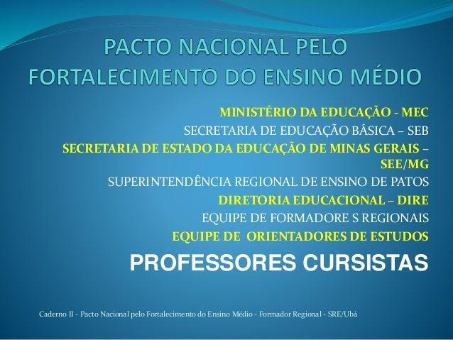 MINISTÉRIO DA EDUCAÇÃO - MEC SECRETARIA DE EDUCAÇÃO BÁSICA – SEB SECRETARIA DE ESTADO DA EDUCAÇÃO DE MINAS GERAIS – SEE/MG...