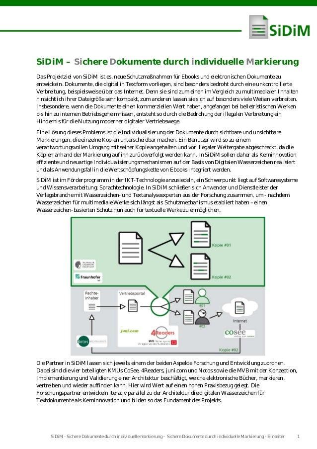 SiDiM - Sichere Dokumente durch individuelle markierung – Sichere Dokumente durch individuelle Markierung - Einseiter 1SiD...