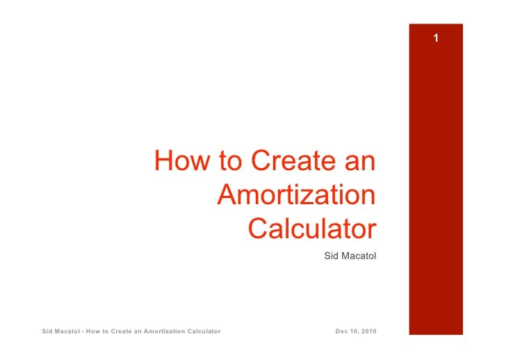 How To Create An Amortization Calculator
