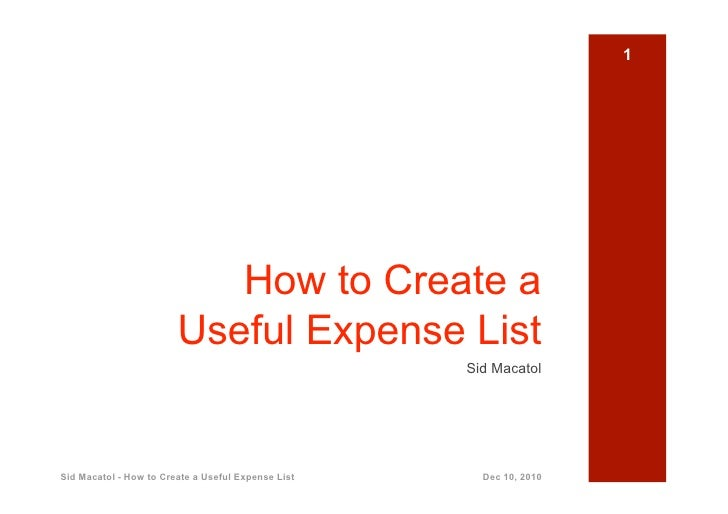 1                           How to Create a                        Useful Expense List                                    ...