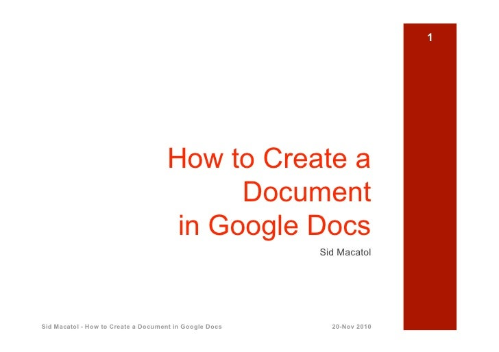 How To Create Documents In Google Docs