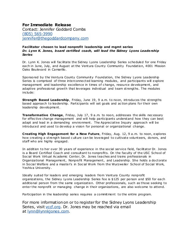 For Immediate Release Contact: Jennifer Goddard Combs (805) 565-3990 jennifer@thegoddardcompany.com Facilitator chosen to ...