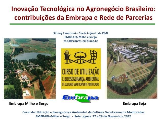 Inovação Tecnológica no Agronegócio Brasileiro:  contribuições da Embrapa e Rede de Parcerias                           Si...