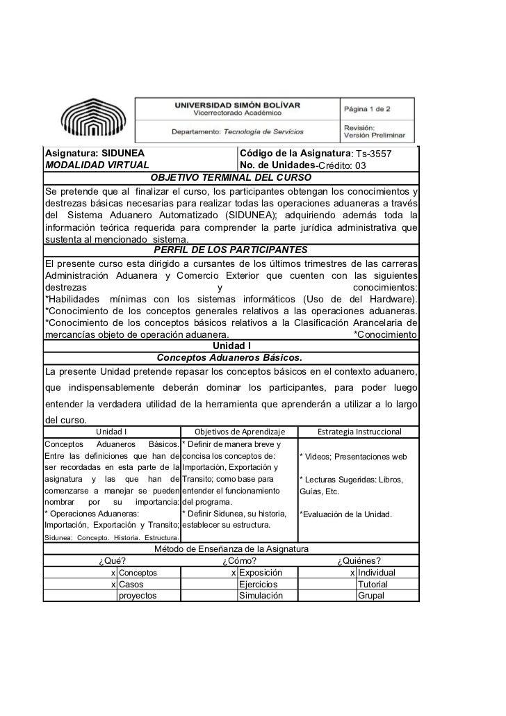 Asignatura: SIDUNEA                          Código de la Asignatura: Ts-3557MODALIDAD VIRTUAL                            ...