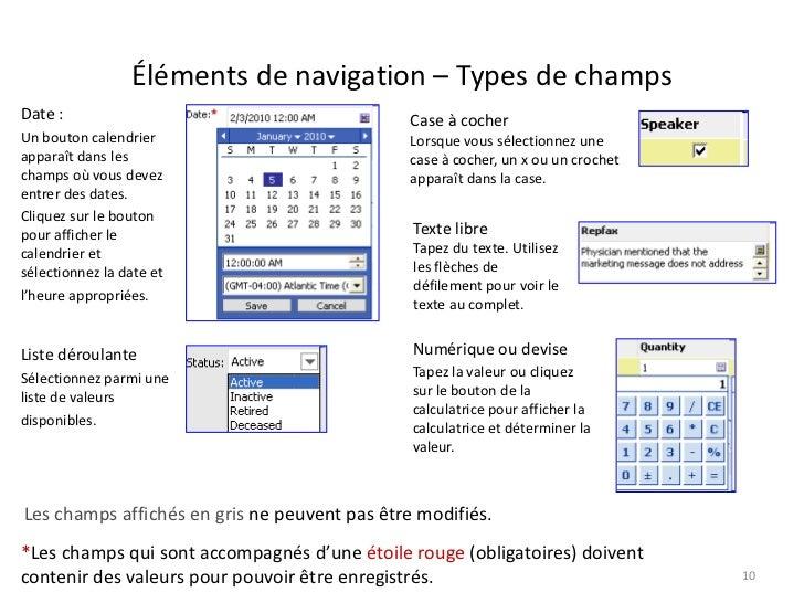 Éléments de navigation – Types de champsDate :                                        Case à cocherUn bouton calendrier   ...