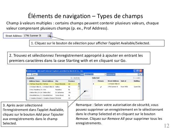 Éléments de navigation – Types de champs  Champ à valeurs multiples : certains champs peuvent contenir plusieurs valeurs, ...