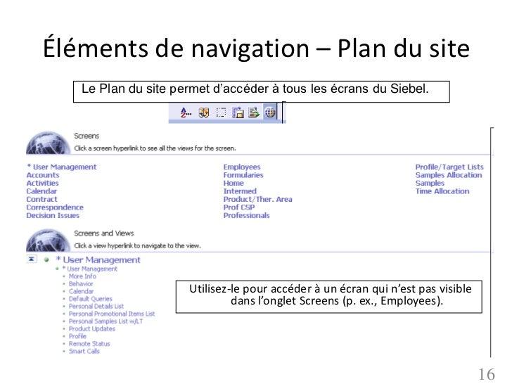 Éléments de navigation – Plan du site   Le Plan du site permet d'accéder à tous les écrans du Siebel.                     ...